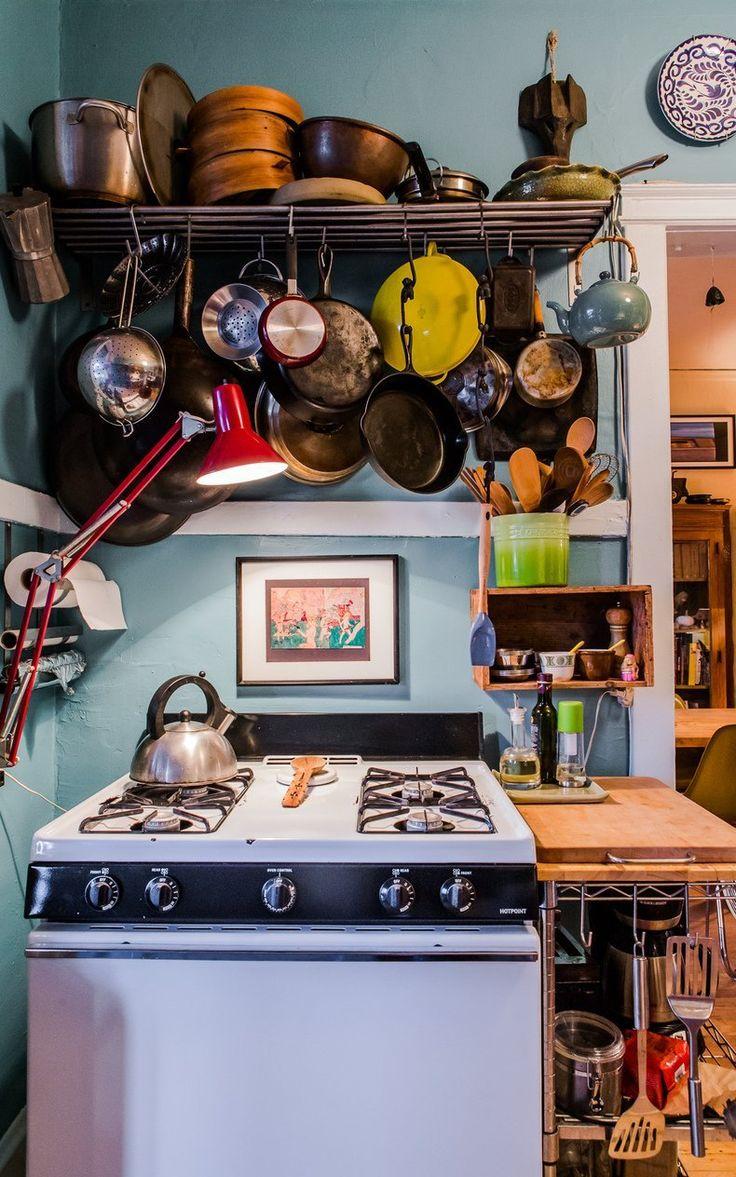Victor U0026 Rajivu0027s Colorful, Collected Kitchen (and Garden!) U2014 Kitchen Tour. Hanging  PansOrganized ...