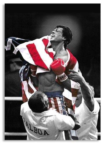Rocky Balboa Boxing USA Flag Pop Art Canvas Print
