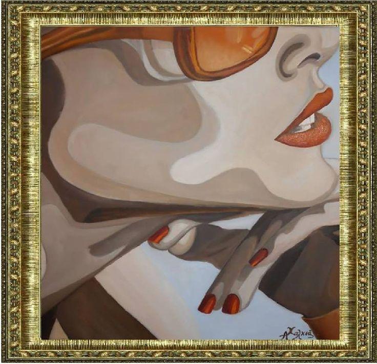 η γυναικα  ζωγραφικη με λαδι σε μουσαμα 40x40 cm the wife  oil painting on canvas  40x40 cm