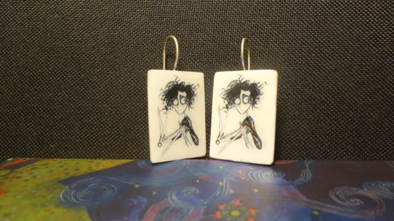 Scissorhands picture earrings photo paper on by IndiejewelsShop
