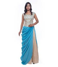 Buy Beige print chanderi stitched lehenga choli readymade-lehenga-choli online