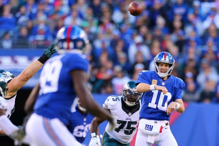 Eagles vs. Giants:  28-23, Giants  -  November 6, 2016  -       Eli Manning of the New York Giants throws pass  to Jerell Adams against the Philadelphia Eagles at MetLife Stadium on Sunday, Nov. 6, 2016 in East Rutherford, N.J.