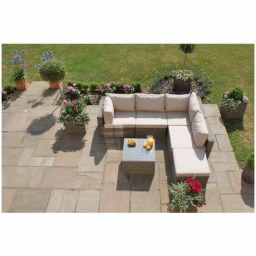 5 Seater Garden Rattan Corner Sofa Set Aluminum Frame Cushion Outdoor Furniture