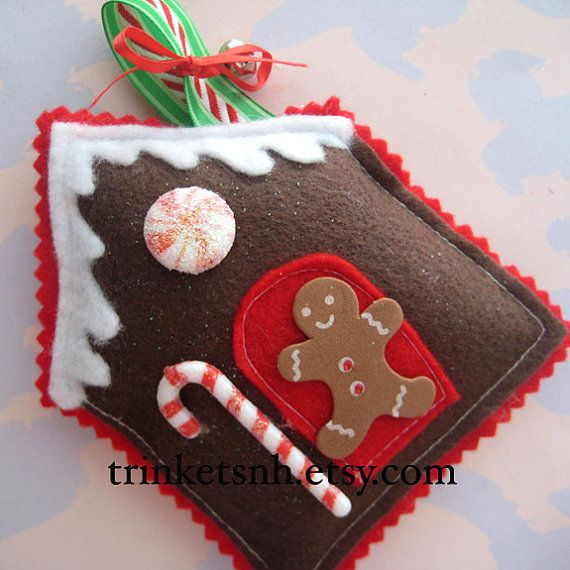 Felt Gingerbread House Sewn Christmas Ornament