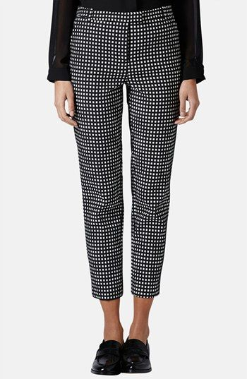 Topshop Gingham Print Cigarette Pants available at #Nordstrom