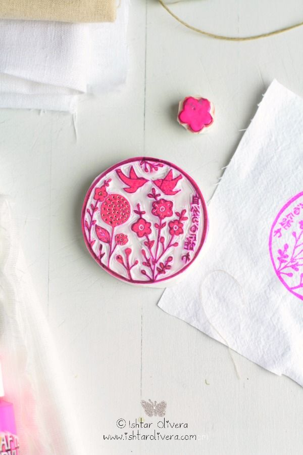 ishtar olivera, birds and flowers stamp # drucken auf Stoff tutorial in spanisch #printing on fabric tut