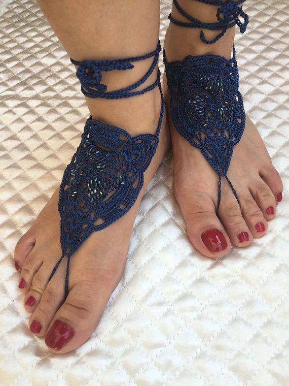 Crochet barefoot sandals Barefoot sandals Bridal by PinarKnitting