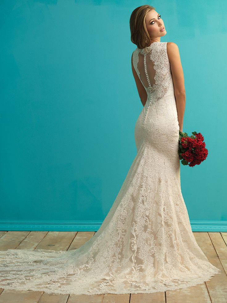 Allure Bridals 9253 Wedding Dress Swarovski Crystals V-Neckline | MadameBridal.com