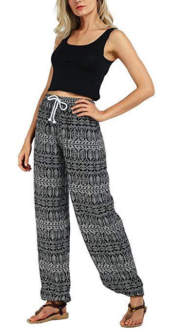 Urban GoCo Femmes Boho Harem Pantalon Dames Floral Imprimer Élastiquée  Taille Pantalon  Amazon.fr 5f242f1356f