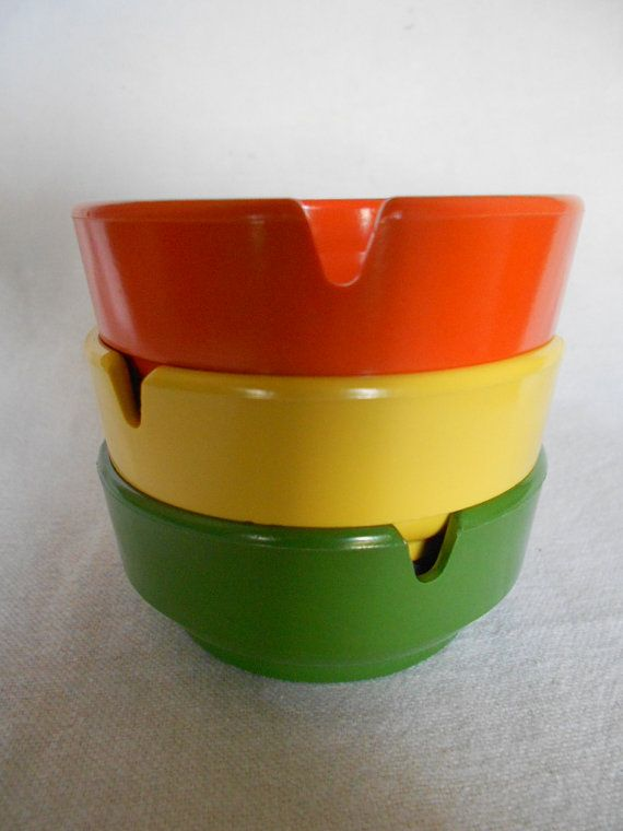 Retro Ashtrays In Orange Yellow And Green by by GuelphJunction