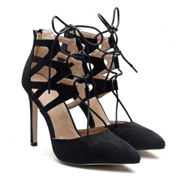 Yoins Yoins Black Suede Lace-up High Heels (120 QAR) ❤ liked on Polyvore featuring shoes, pumps, black, high heel pumps, lace up pumps, suede pointed toe pumps, black suede pumps and suede shoes