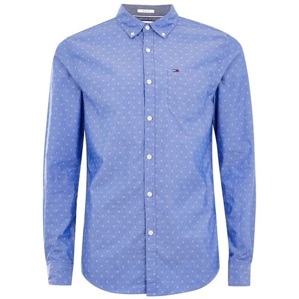 TOPMAN Tommy Jeans Blue Dotted Printed Shirt ($89) ❤ liked on Polyvore featuring men's fashion, men's clothing, men's shirts, men's casual shirts, blue, mens casual long sleeve shirts, mens polka dot shirt, mens long sleeve button up shirts and mens casual long sleeve button down shirts
