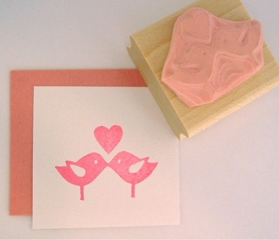 Love Birds Hand Carved Rubber Stamp