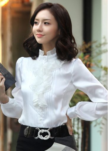Classic Puff Sleeve Ruffled Mandarin Collar Pleated White Rayon Shirt on sale only US$13.66 now, buy cheap Classic Puff Sleeve Ruffled Mandarin Collar Pleated White Rayon Shirt at martofchina.com