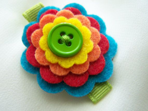 hair clip - felt flowers stacked with button | Becca's ...