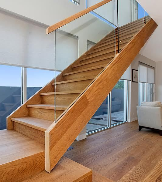 Open Stair with Feature Boxed steps and Double cut String detail