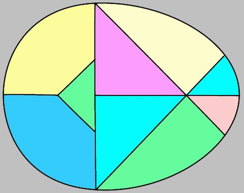 How about an egg-shaped tangram puzzle. See more like this at: https://nrich.maths.org/public/search.php?search=tangrams