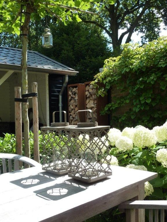 tuin met overkapping, cortenstaal houtopslag, dakplataan en hydranten 'Annabelle' www.vrielinktuinlink.nl