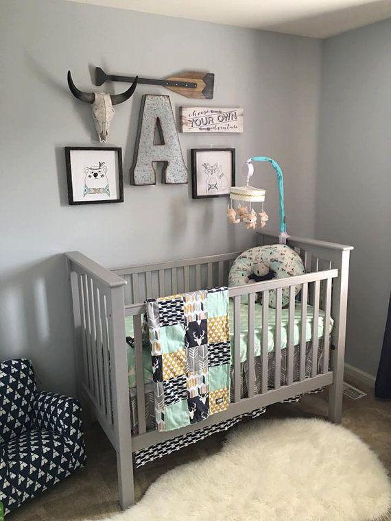 Woodlands Crib Bedding Navy Deer Grey Arrow by GiggleSixBaby