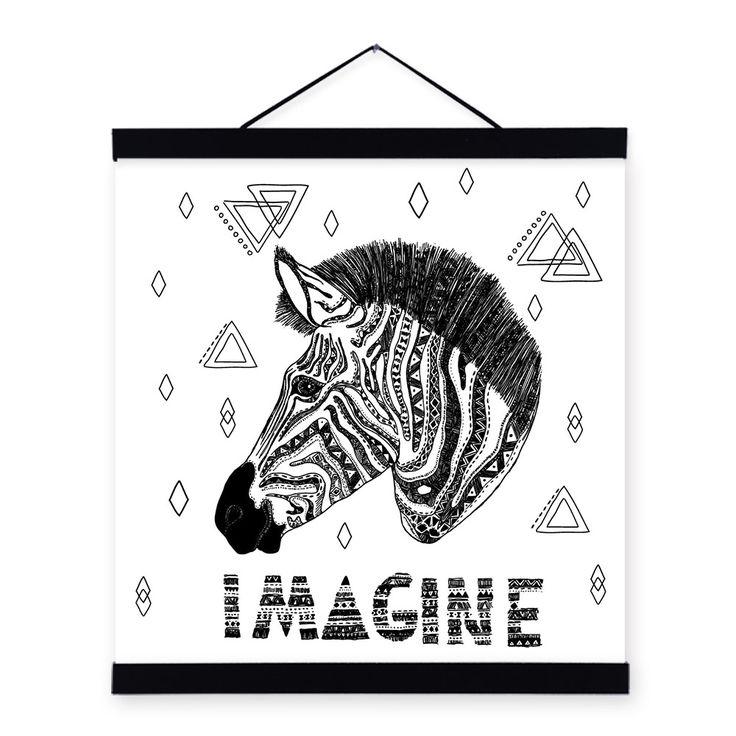 Encontrar Más Pintura y Caligrafía Información acerca de Moderno negro blanco minimalista imagínese cebra Pop cartel imprime Original inconformista lona Animal Living Room Wall Art regalo, alta calidad pintura decorativa del azulejo, China decoración de pintura al óleo Proveedores, barato pintura de Mild Art en Aliexpress.com