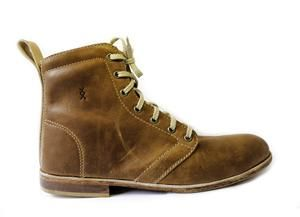 100% handmade leather men's shoes High-top - Toffee colour  SIXKINGS Viking range