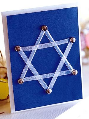 Get ready for Hanukkah by creating a personalized and festive card. Courtesy of Better Homes and Gardens, the card features a ribbon-laced Star of David and is a great craft for the entire family.