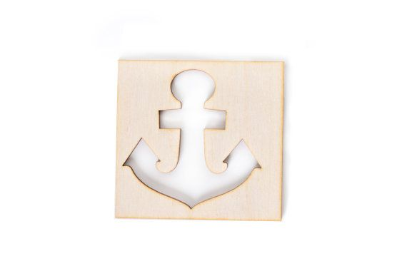 wooden anchor shape, nautical sailor seaside decor, window decoupage blank shape, chidrens room, DIY eco unfinished laser-cut cutout shape
