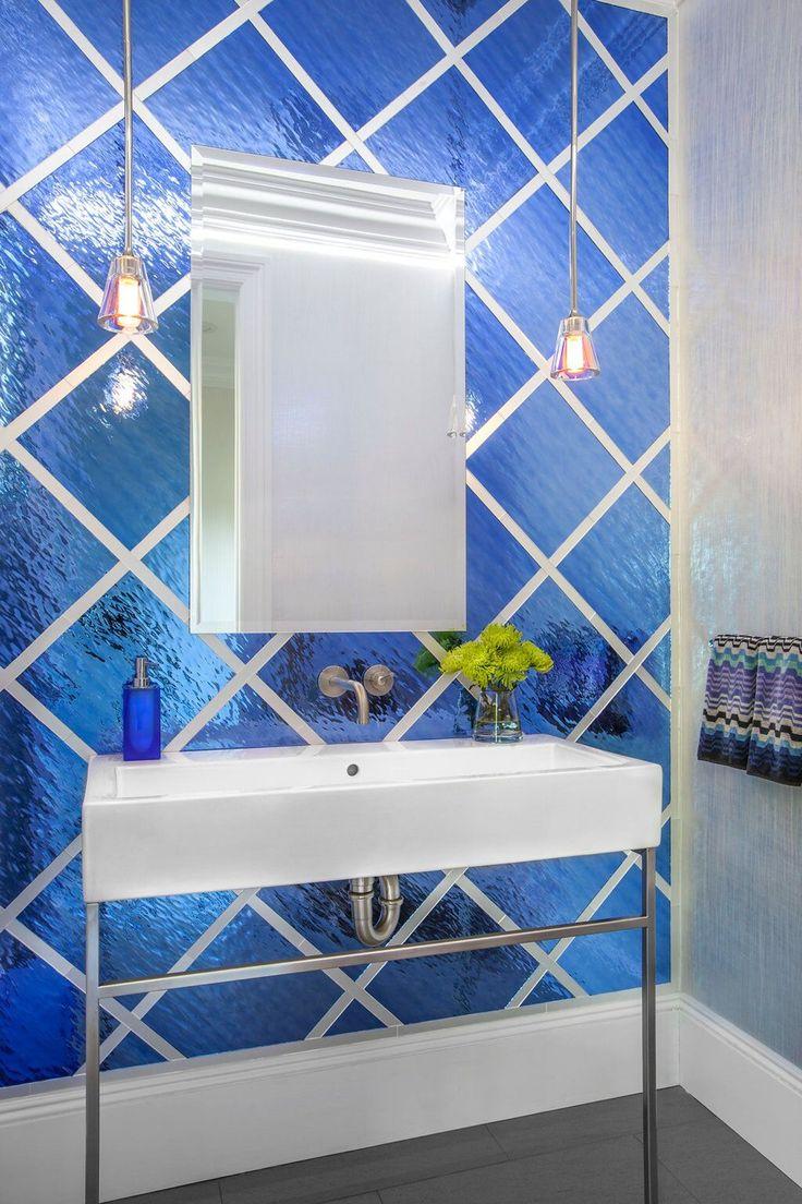 Vibrant, Bold Contemporary Cobalt Blue Powder Room