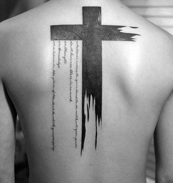 Watercolor Blackork Simple Cross Mens Back Tattoo