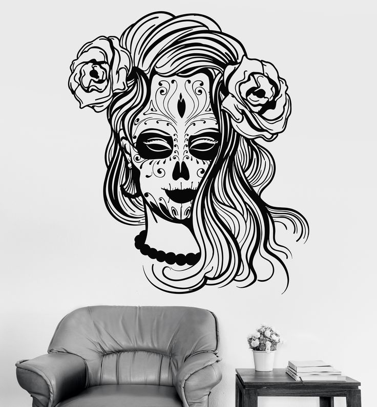 Vinyl Wall Decal Calavera Mexico Mexican Girl Day Of The Dead Stickers (1363ig)