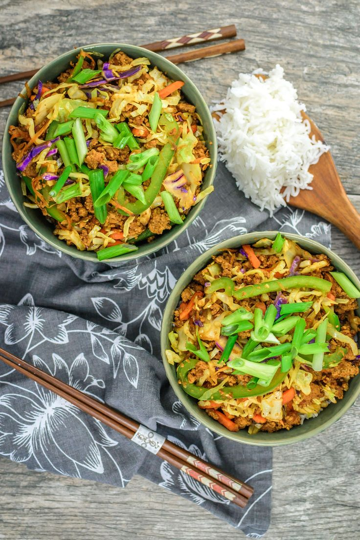 Budget Egg Roll Rice Bowl - Peppers & Pennies USE GLUTEN-FREE TAMARI SAUCE INSTEAD OF SOY SAUCE TO MAKE THIS RECIPE GLUTEN-FREE-From Our Hideaway