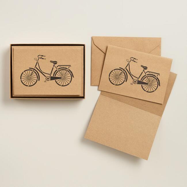 Laser Cut Retro Bike Notecards, Set of 8
