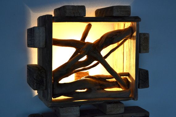 Handmade Rustic Lamp with Reclaimed Wood by the por RusticByTheSea