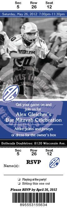 Football Themed Bar Mitzvah Sporting Event Ticket style Invitation
