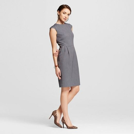 • Sleeveless/cap sleeve, high, round neckline  <br>• Fitted at waist, chic tailoring <br>• Lightweight and low maintenance fabric with a hint of stretch. <br><br>Chic is so easy with the Women's Bi-Stretch Twill Occupational Dress by Merona. This chic women's dress for work can go from the boardroom to after hours effortlessly.