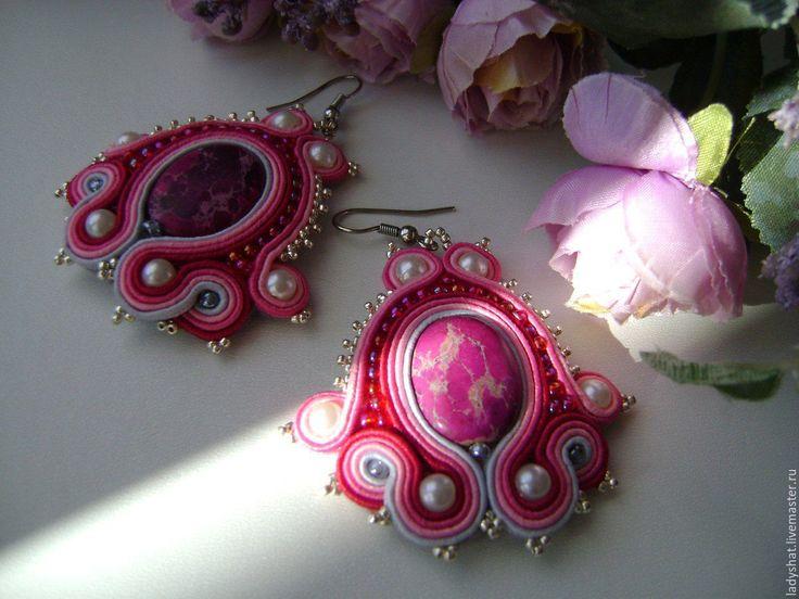 Купить Серьги розовые сутажные - розовый, серьги розовые, серьги ручной работы, серьги на праздник