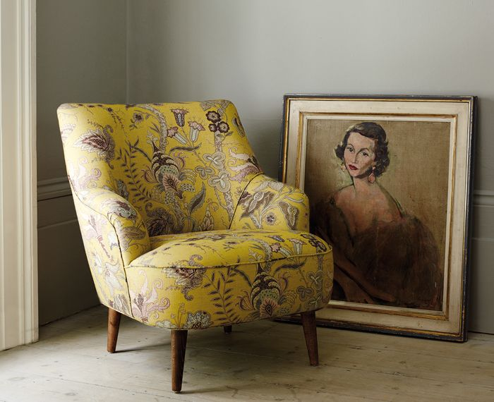 Chair - Uhura | Yellow | LF1923C/3. The Uhura design comes in 8 colourways as a fabric and 4 in a wallcovering. http://www.linwoodfabric.com/product/fabrics/uhura/