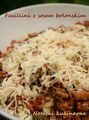 Fusilli z sosem bolońskim czyli makaron z mięsem :)