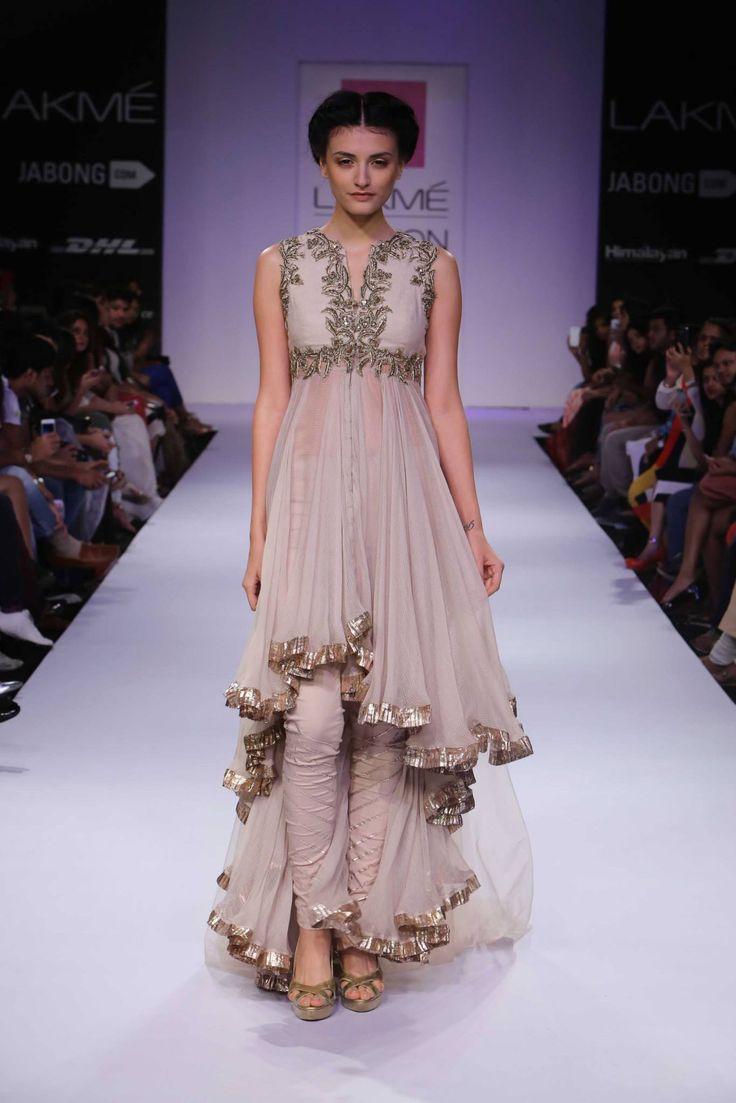 High-low hem outfit by Anushree Reddy as seen at Lakme Fashion Week Winter Festive 2014 https://www.facebook.com/nikhaarfashions