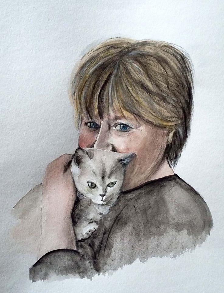 Ritratto da una foto   - acquerello