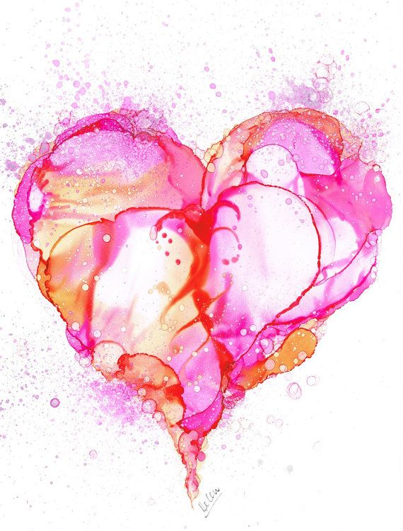 Love Bubbles Heart Alcohol Ink Painting Art Print Sweetheart Pretty Rose Pink…