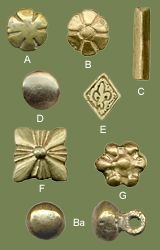 Studs (Set 1)    Century - Sources:  13th-15th  Material:  brass  Notes:  Sizes:  A - B - G - E - F - length/diameter cm. 1,5  D - diameter cm. 1,2  C - length cm. 2  Ba - round button diameter cm. 1,2 (only tin alloy available)  basic set 7 studs  € 15.00  standard set 12 studs  € 23.00  deluxe set 18 studs  € 34.00