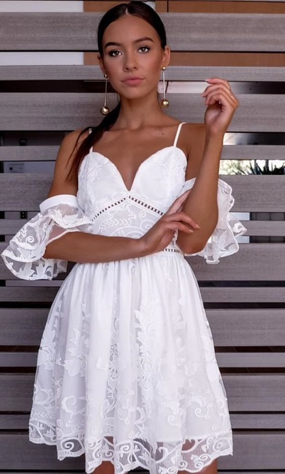 afb72975599 A-Line Spaghetti Straps Short White Lace Homecoming Dress ...