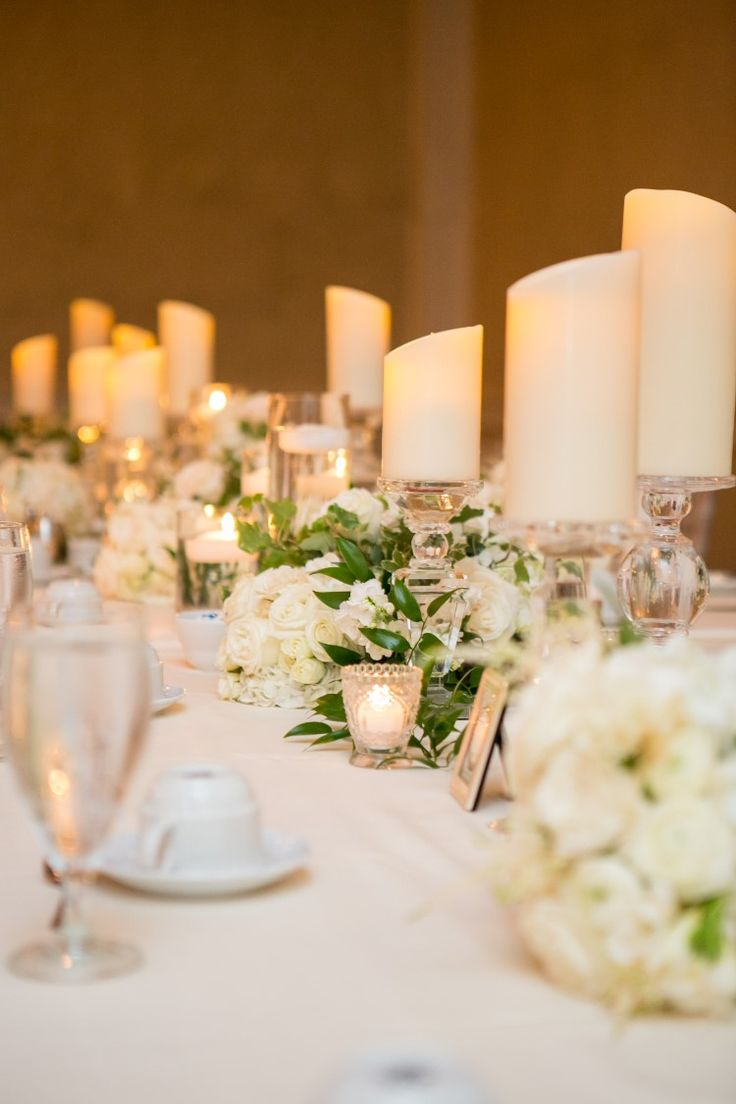 Elegant monochrome wedding reception with candles and flowers (Kristina Lynn Photography & Design)