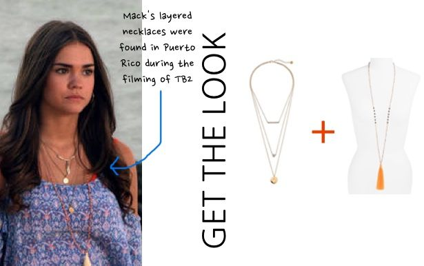 Teen Beach 2 movie: Mack's (Maia Mitchell) layered gold necklaces and tassel necklace #teenbeach2 #tb2 #maiamitchell #disneychannel #getthelook