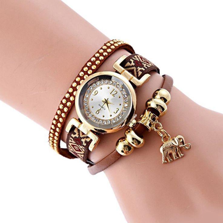 Elephant Rhinestone Number Strand Bracelet Watch - BROWN