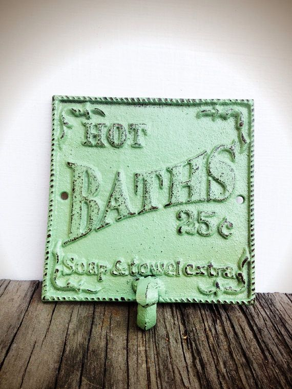 Soft Mint Green Bath Sign Wall Hook - French Country - Vintage Shabby Chic
