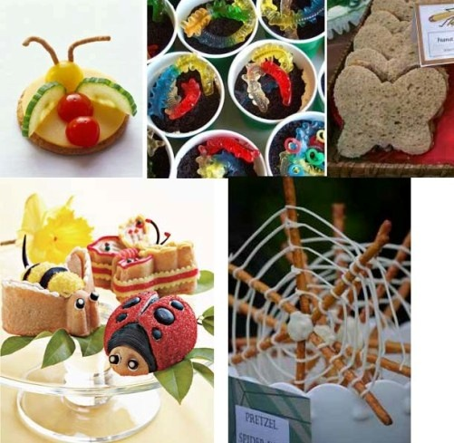 Bug food ideas - Pretzel Spider Web, butterfly sandwiches, worms in dirt