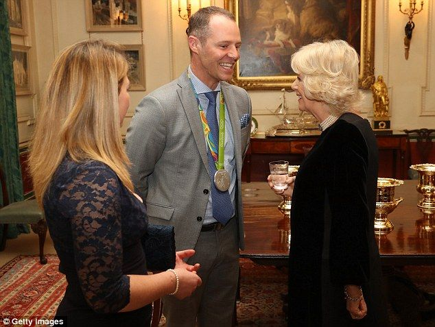 Camilla with equestrians Kitty King, left, and Spencer Wilton at the reception