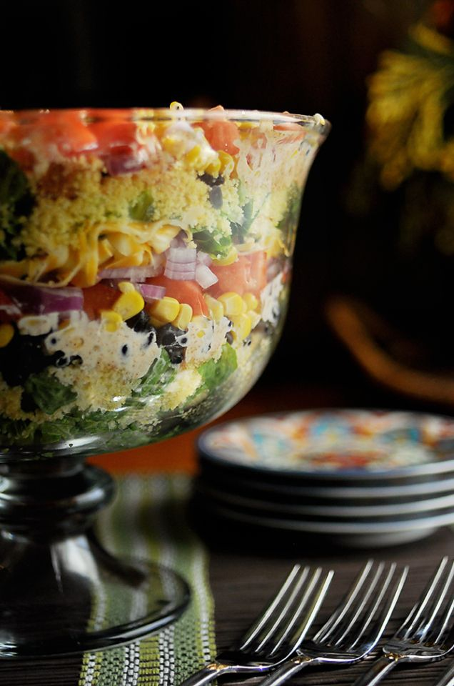 (From the original pin below) Southwest Layered Cornbread Salad- a friend made this for a MOPS brunch and everyone asked for the recipe. I made it tonight for 4th of July and guess what? Everyone asked for the recipe. It's awesome!